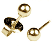 """Ear Piercing Earrings Gold 4mm Round Ball Studs """"Studex System 75"""" Hypoallergenic"""