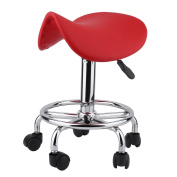 Rolling Salon Stool Swivel Hydraulic Saddle Chair Chromed Steel & PU Leather Rolling Chair for Tattoo SPA Beauty Massager Hairdresser