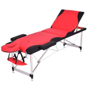 Giantex 180cm L 3 Section Portable Massage Table Aluminium Facial SPA Bed Tattoo w/Free Carry Case