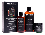Brickell Men's Daily Advanced Face Care Routine I - Gel Facial Cleanser Wash + Face Scrub + Face Moisturiser Lotion - Natural & Organic
