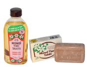 Monoi Tiki Tahiti Vanilla and Monoi Tiare Tahiti Vanilla Soap Bar With Tiare Flowers, Coconut Oil and Vitamin E, 120ml and 130ml
