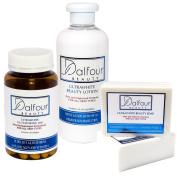 Dalfour Beauty Glutathione Ultrawhite Set - Glutathione Capsules, Body Lotion with SPF50+ & Soap