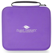 Plant Therapy Large Hard-Top Essential Oil Carrying Case. Holds up to 30 Bottles (5 ml, 10 ml, 15 ml) Stain and Water Resistant,, Durable, Travel Ready. Purple with White Zipper.