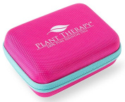 Plant Therapy Small Hard-Top Essential Oil Carrying Case. Holds up to 10 Bottles (5 ml, 10 ml, 15 ml, Roll-Ons) Stain and Water Resistant,, Durable, Travel Ready. Pink with Teal Zipper.
