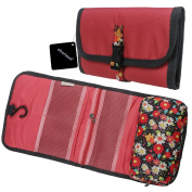 xhorizon SR Portable Folding Mesh Pockets Toiletry Cosmetics Travel Bag Cosmetic Carry Case Floral Printed Personal Organiser Bag with Hook for Home Travel