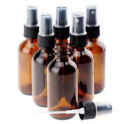 Sprite Science Essential Oils Bottles with Fine Mist Sprayer Amber Round Glass Perfume Mosquito Makeup Comestics DIY Container Travel Storage 30ml 12pcs