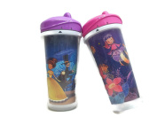 """PLAYTIME INSULATED SPILL-PROOF SPOUT CUPS """"PRINCESS THEME"""" ( 2 Cups each 270ml) ++BONUS BABY WIPES++"""