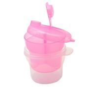 3 Layers Mini Rotating Kids Milk Powder Container Storage Feeding Box Pink