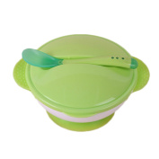 Baby Feeding Silicone bowl with Stay-Put Suction Base,Snap Tight Lids and Colour Change Spoon 3 PC Set