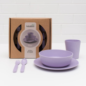 Bobo & Boo 5 Piece Kids Bamboo Dinnerware Set, Eco friendly Baby Dishes, Lilac Purple