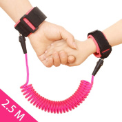 JINSEY Safety Child Anti Lost Wrist Link Harness Strap Rope Leash Walking Hand Belt Band Wristband for Toddlers, Kids -Pink