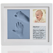 Amazing Baby Handprint and Footprint Frame Package – Keepsake Preserves Memories – Non Toxic and Safe BIO-foam – Quality Wood Frame with Safe Acrylic Glass - Baby Gift For Baby Registry