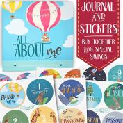 Baby Memory Book + Bonus Monthly Milestone Stickers. Baby shower gift & keepsake to record first year photos & milestones. Five year scrapbook & picture album. Boy & girl babies.
