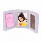 New Arrival Cute 3D DIY Baby Photo Frame Handprint Footprint Soft Clay Safe Inkpad Home Wedding Decor Birthday Gifts without Cover 13cm