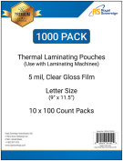 Royal Sovereign 1000-Count Thermal Laminating Pouches, 9 x 11.5 -Inches, 5 mil thick, Clear