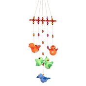 ExclusiveLane Terracotta Handpainted Flying Bird Hanging Multicolour