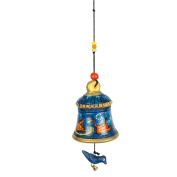 ExclusiveLane Terracotta Handpainted Hanging Bell With Bird Blue