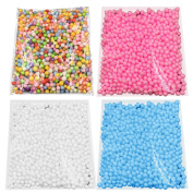 4 Packs Mini 4-8mm Dia Foam Decorative Balls for Gift Box Filler DIY Doll Toys Wish Bottle Pillow Filler Homemade Slime Kid's Craft Wedding Party Decoration Arts Accessories