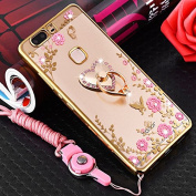 Huawi Honour 8 Case,ikasus Pink Butterfly Flower Bling Crystal Rhinestone Diamonds Clear Rubber Golden Plating Frame & Pink Straps Love Diamonds Kickstand Soft TPU Bumper Case Cover for Huawi Honour 8
