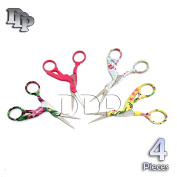 DDP 4 PAIRS 11cm STAINLESS STEEL SHARP TIP CLASSIC STORK SCISSORS CRANE DESIGN SEWING SCISSORS DRESSMAKER SHEARS SCISSORS FOR EMBROIDERY, CRAFT, NEEDLE WORK, ART WORK & EVERYDAY USE BTS-155