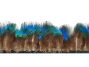 Peacock Feathers | 1 Yard - Iridescent Blue Peacock Plumage Fringe / Trim Feathers Costume, Fly Tying, Craft and Much More
