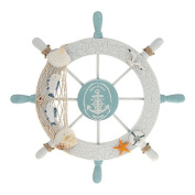 Wooden Ship Wheel,Beach Wooden Ship Wheel Ship Boat Steering Wheel Fishing Net Steel Main Home Wall Decor Ornament By Sunshine D White and Green