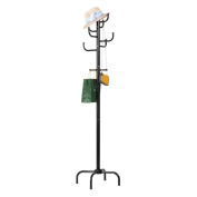 LANGRIA Modern 12 Hooks Tall Metal Coat Stand and Hat Display Hall Tree Hanger with Protective Anti-Tearing Caps Solid Levelling Feet for Home Office Hallway Waiting Room Living Room Bedroom