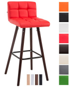CLP Barstool LINCOLN V2 quilted with faux leather covers, beech wood frame, back rest + foot rest offering optimal comfort, max. weight capacity 150 kg red, colour of frame