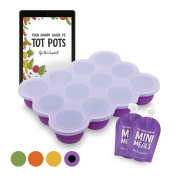 Tot Pots Large Silicone Baby Weaning Food Freezing Cube Tray Storage Container with Lid + FREE REUSABLE POUCH & FREEZER RECIPE EBOOK - BPA FREE, REACH CERTIFIED - Great Kit for Pureed Organic & Homemade Baby Food, Babies Toddlers & Kids