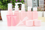 Janice home Cosmetic Packaging Bottles of Shower Gel and Shampoo Toiletries Liquid Containers Travel Bottle Spray Bottle Press the Bottle 9 Pack Plastic Pink