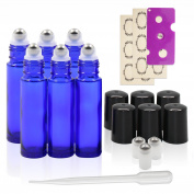 6, Cobalt Blue, 10ml Glass Roll on Bottles with Stainless Steel Roller Balls - 12pc Labels, 1ml Dropper, Opener and 3pc Roller Balls Extra Include