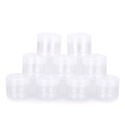 SEADEAR 20 Pcs 20Gram Empty Clear Plastic Cosmetic Container Refillable Portable DIY Make up Pot Jars Eyeshadow Container