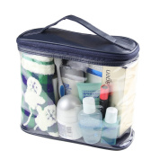 HaloVa Transparent Toiletry Bag, Clear Travel Makeup Pouch Sundry Bag, Cosmetics and Toiletries Organiser Bag with Top Handle for Men and Women, Dark Blue