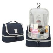 Hanging Travel Toiletry Bag, Double Layer Waterproof Cosmetic Bag Portable Makeup Pouch for Women Hook Toiletry Dopp Kit & Shaving Kit Organiser for Men