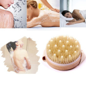 Lowpricenice(TM) Dry Skin Body Personal Care Brush Premium Natural Bristle Wooden Bath Shower Body Back Dry Skin Brush Spa Scrubber Exfoliating Round Cleaning Multi-function Healthy Bath Tool