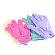 CHUANGLI 4pcs Scrubbing Exfoliating Gloves Nylon Shower Gloves Body Scrub Bath Scrubber for Acne & Dead Cell