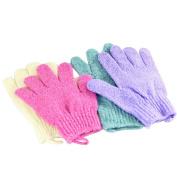 CHUANGLI 4pcs Scrubbing Exfoliating Gloves Nylon Shower Gloves Body Scrub Bath Scrubber for Acne & Dead Cell