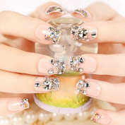 CoolNail 24 PCS Shining Rhinestone Gem French False Nails Square Light Pink Fake Nails Silver Glitter Fake Nails Nails