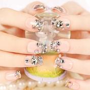 CoolNail 24 PCS Shining Rhinestone Gem French False Nails Square Light Pink Fake Nails Silver Glitter Fake Nails Nails