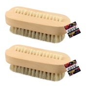 "2 x COTU (R) Wooden Nail Brush with Dual Sided Bristles - 3.75"" x 1.375"""