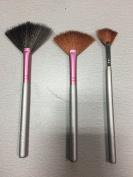 Star Beauty Fan Brush Set 3pcs Kit Premium Quality Synthetic brushes Plush Fan Brushes for Highlighting & Small Firm Brush (BEST SELLER) For Defined Areas.