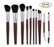 QJ Premium Makeup Brushes, 10pcs Wood Handle Made Makeup Brush Set Synthetic Kabuki Cosmetics Foundation Blending Blush Eyelash Eyeliner Face Powder Cosmetic Makeup Brush Kit