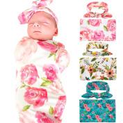 Elesa Miracle 3pc Newborn Baby Swaddle Blanket and Headband Value Set,Receiving Blankets