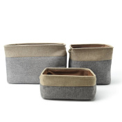 HongG Collapsible Storage Bin Basket Rectangular Foldable Canvas Fabric Storage Cube Bin With Handles - Small, Grey