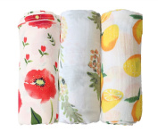 """Bamboo baby Swaddle Blankets - 3 Pack """" Floral & Pineapple & Lemon Print"""" Baby Unisex Muslin Blanket for Boys and Girls by Little Jump."""