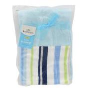Little Beginnings Blue White Green Stripe Fleece Boy's Blanket