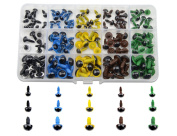 TOVOT 150 PCS Safety Eyes 8 mm- 12 mm Diameter Assorted Colours with Washer for Bear, Doll, Puppet, Plush Animal