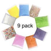 Zicome 9 Pack Mini Styrofoam Foam Balls Colourful Beads for Floam Slime, Decorative Arts DIY Crafts Supplies