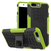 OnePlus 5 Case,ARSUE [Premium Rugged] Hybrid Heavy Duty Armour Hard [Shock Resistant] Dual Layer with Kickstand Protective Case Cover for OnePlus 5 Smartphone - Green