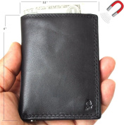 Men's Genuine Leather mini Wallet Vintage black Magnetic soft Skin Coin Money Pocket cards slots Retro Style Luxury black DavisCase